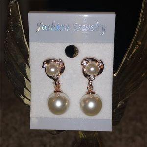 Gold Pearl Dress Dangle Earrings